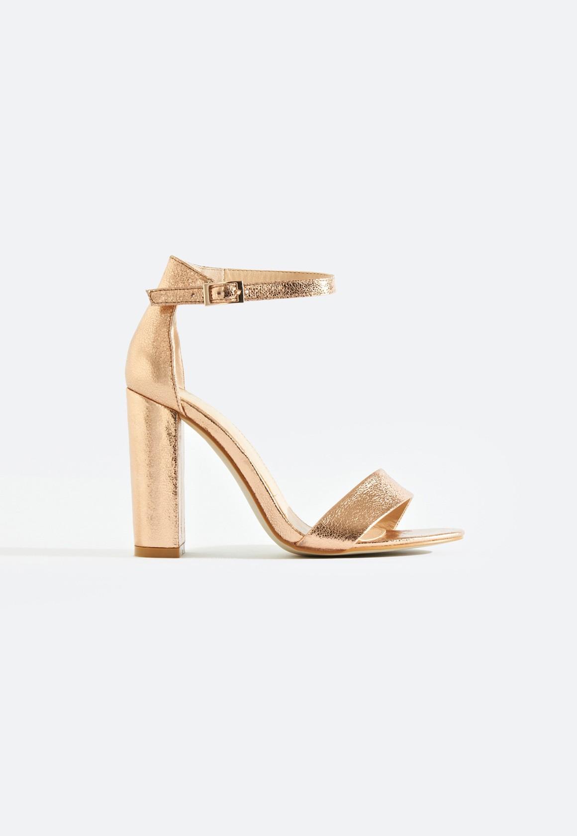 e8a08a7e88c Sarah Basic Single Strap Block Heel Sandal Gold Crinkle