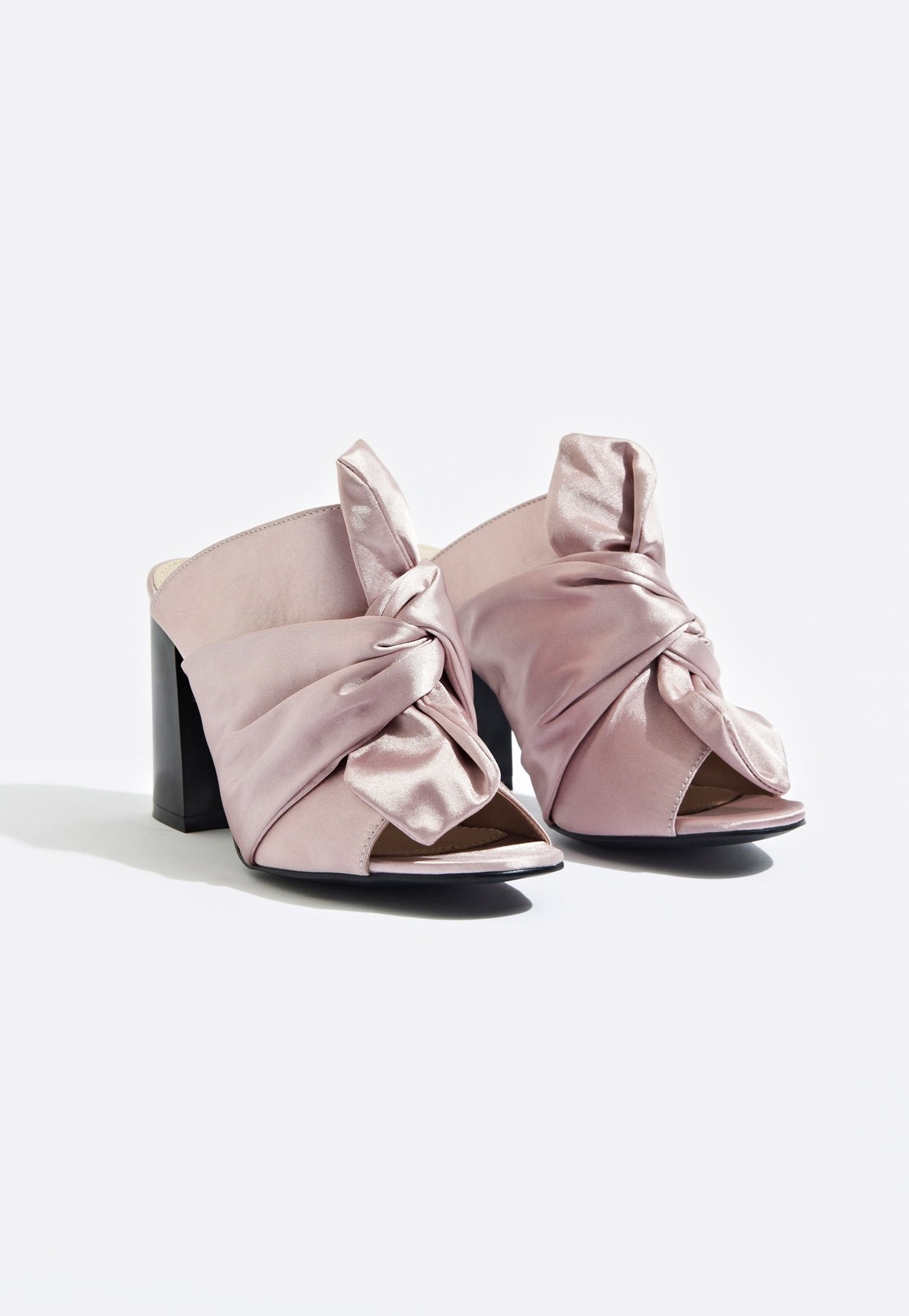 Tayla Knotted Satin Mules Pink