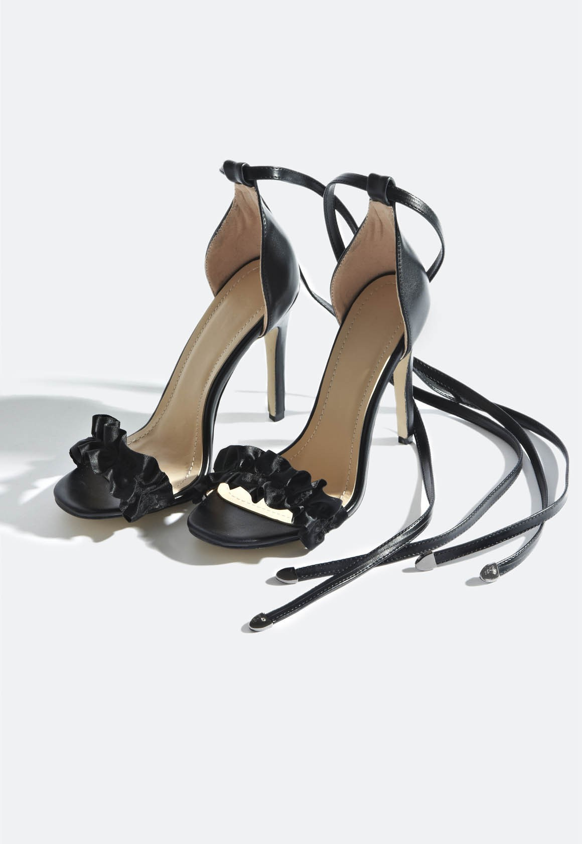 Taylor Ruffle Strap Lace Up Heels Black