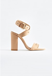 Adrianna Wrap Around Strap Block Heels Nude