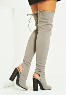Mila Knitted Peep Toe Over The Knee Boot Grey