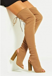 Mila Knitted Peep Toe Over The Knee Boot Mocha