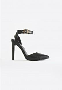Faye Ankle Strap Court Shoe Black
