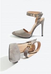 Faye Ankle Strap Court Shoe Grey