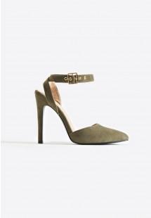 Faye Ankle Strap Court Shoe Khaki
