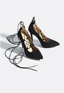 Francesca Lace Up Court Shoes Black