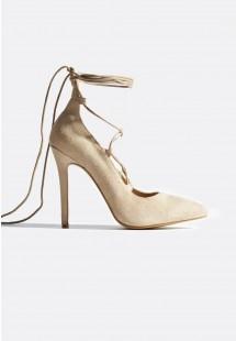 Francesca Lace Up Court Shoes Nude