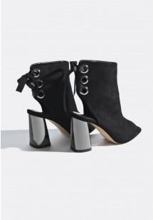Gina Metallic Heel Lace Up Ankle Boots Black