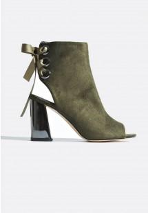 Gina Metallic Heel Lace Up Ankle Boots Khaki