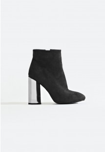 Jade Faux Suede Hexagonal Heel Ankle Boot Black
