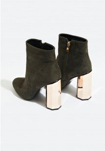 Jade Faux Suede Hexagonal Heel Ankle Boot Khaki