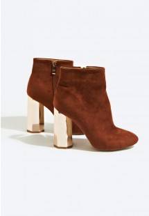 Jade Faux Suede Hexagonal Heel Ankle Boot Tan