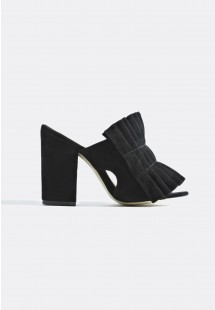 Jayne Pleated Mules Black