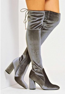 Kelsie Velvet Flare Heel Over The Knee Boot Grey