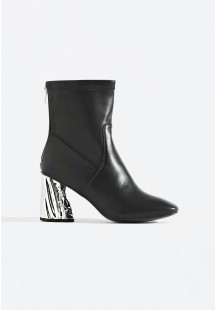 Khloe Metallic Heel Ankle Boot Black