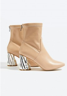 Khloe Metallic Heel Ankle Boot Nude