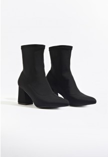 Kourt Flare Heel Ankle Sock Boot Black