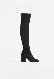 Kylie Block Heel Over The Knee Boot Black