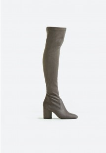 Kylie Block Heel Over The Knee Boot Grey