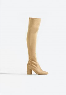 Kylie Block Heel Over The Knee Boot Nude