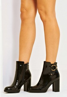 Luna Buckle Block Heel Ankle Boot Black Patent