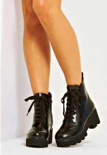 Madison Faux Leather Lace Up Platform Biker Boot Black