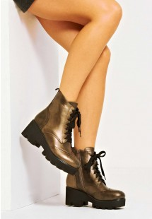 Madison Faux Leather Lace Up Platform Biker Boot Metallic