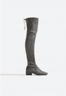 Michelle Low Block Heel Over The Knee Boot Grey