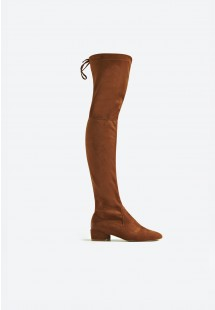Michelle Low Block Heel Over The Knee Boot Tan