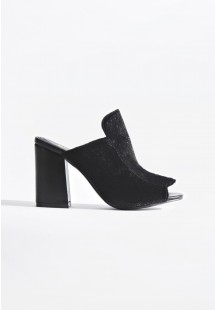 Nadia Pony Block Heel Mules Black Pony