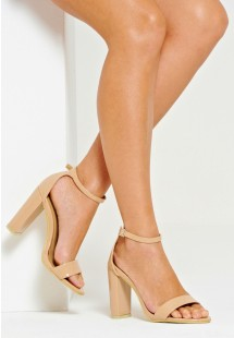 Sarah Single Strap Block Heels Mocha Patent