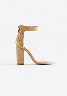 Rose Clear Strap Embellished Block Heel Nude
