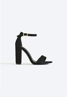 Sarah Basic Single Strap Block Heel Sandal Black