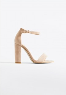 Sarah Basic Single Strap Block Heel Sandal Nude