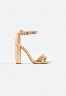 Sarah Basic Single Strap Block Heel Sandal Gold Crinkle