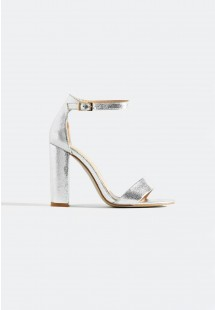 Sarah Basic Single Strap Block Heel Sandal Silver Crinkle