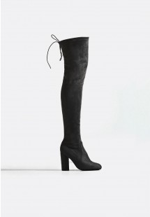 Sophia Extra Long Block Heel Over The Knee Boot Black