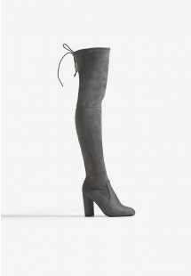 Sophia Extra Long Block Heel Over The Knee Boot Grey