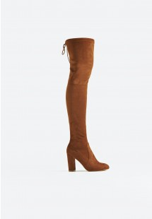 Sophia Extra Long Block Heel Over The Knee Boot Tan