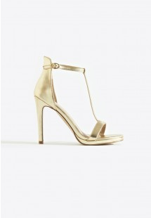 Steph Basic T-Bar Stiletto Heel Gold