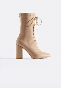 Suki Lace Up Front Ankle Boot Nude