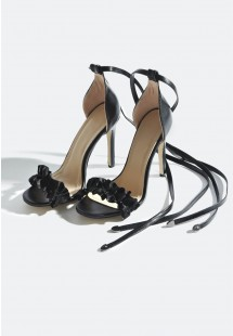 Taylor Ruffle Strap Lace Up Heels Black