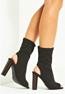 Kim Knitted Peep Toe Ankle Boot Black