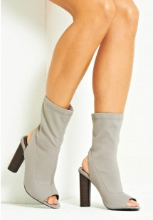 Kim Knitted Peep Toe Ankle Boot Grey