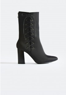 Tyra Lace Up Side Ankle Boot Black