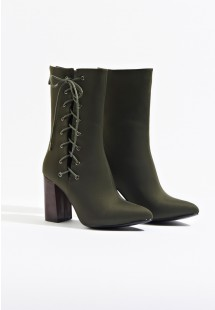 Tyra Lace Up Side Ankle Boot Khaki