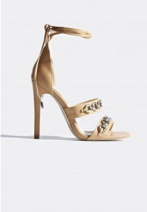 Kate Chain Strap Lace Up Heels Nude