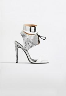 Maya Caged Stiletto Heel White Marble