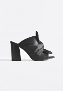 Tayla Knotted Satin Mules Black