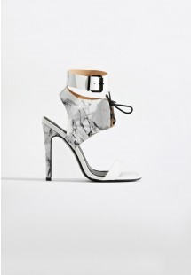 Maya Caged Stiletto Heel White Marble